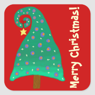 Whimsical Green Christmas Tree Square Sticker