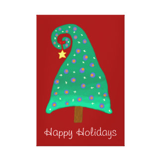 Whimsical Green Christmas Tree Stretched Canvas Print