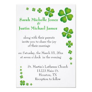 Whimsical Green Shamrock Wedding Invitation