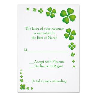 Whimsical Green Shamrock Wedding RSVP Card 9 Cm X 13 Cm Invitation Card