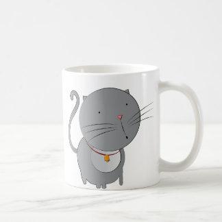 Whimsical Grey Cat with Collar Mug