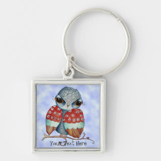 Whimsical Grumpy Owl Customizable Key Chain