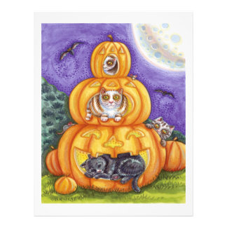 whimsical halloween cats and jack-o-lanterns 21.5 cm x 28 cm flyer