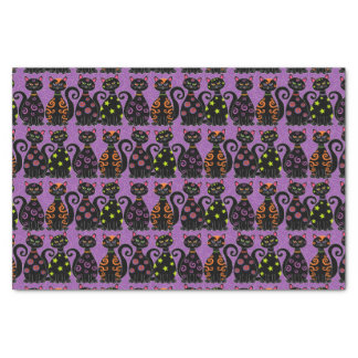 Whimsical Halloween Cats Pattern Tissue Paper