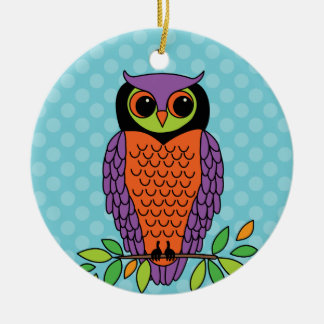Whimsical Halloween Owl Personalized Christmas Ornament