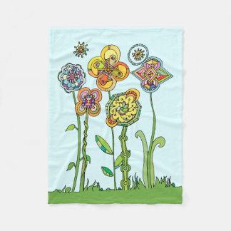 Whimsical, hand drawn flowers fleece blanket