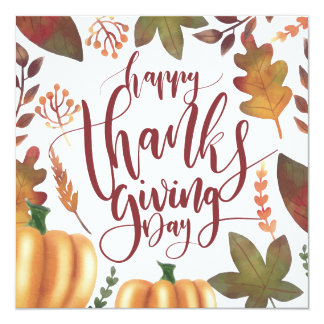 Whimsical Happy Thanksgiving Day | Invitation