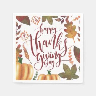 Whimsical Happy Thanksgiving Day   Napkin Disposable Napkin