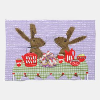 Whimsical Hares Tea Party Tea Towel