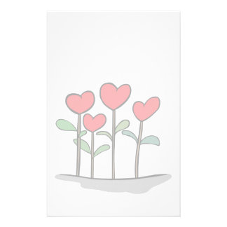 Whimsical Heart Flowers Stationary Stationery Paper