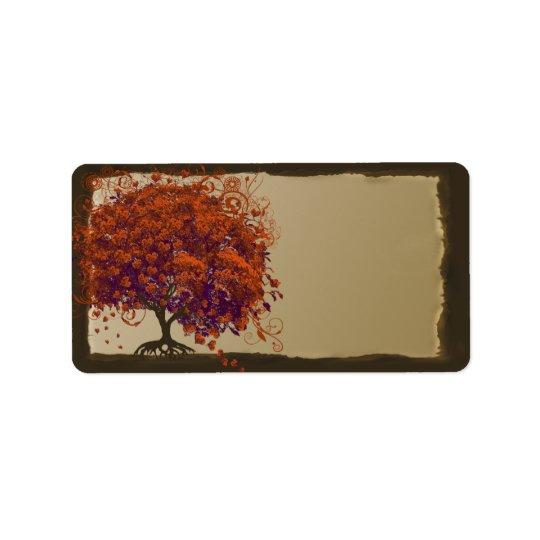 Whimsical Heart Leaf Dark Tree Orange & Plum
