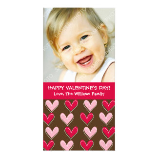 Whimsical Hearts Pink and Brown Valentine's Day Personalized Photo Card