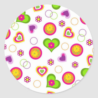 Whimsical Hearts Round Sticker