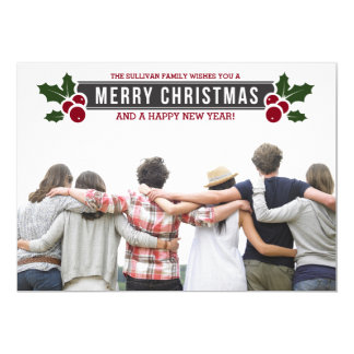 Whimsical Holly Holiday Photo Flat Card
