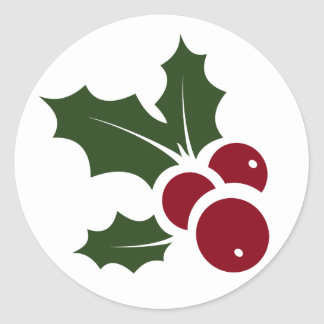 Whimsical Holly Holiday Sticker