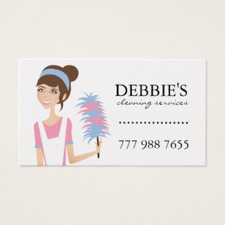 Whimsical House Cleaning Services Business Cards