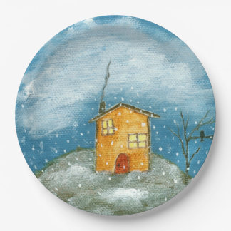 Whimsical House Snowstorm Tree Folk Art Painting Paper Plate