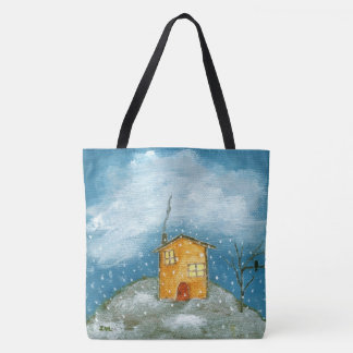 Whimsical House Snowstorm Tree Folk Art Painting Tote Bag