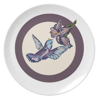whimsical Humming Bird Plate