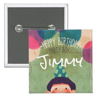 Whimsical Illustration Happy Birthday Party Boy 15 Cm Square Badge