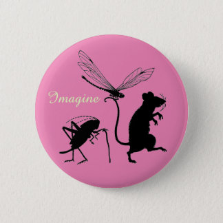 """Whimsical """"Imagine"""" Button with Animal Friends"""