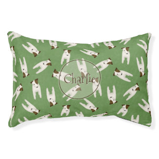 whimsical Jack Russell Terrier pattern dog's name Pet Bed