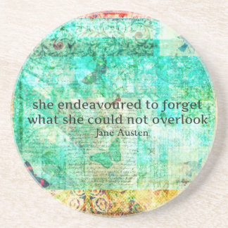 Whimsical JANE AUSTEN Pride and Prejudice QUOTE Drink Coaster
