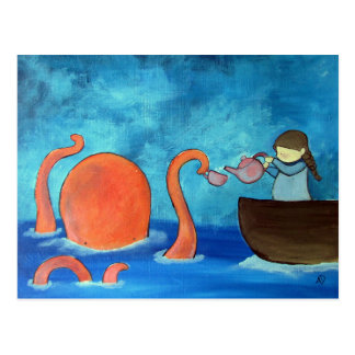 Whimsical Kids Art Girl Octopus Tea Party Cute Postcard