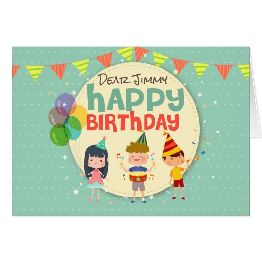 Whimsical Kids Illustration Happy Birthday Party Card