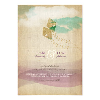 Whimsical Kites Summer Clouds Watercolor Wedding Announcement