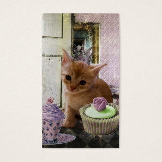 Whimsical Kitten Small Art Prints Business Card