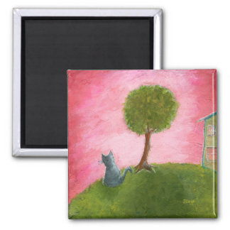 Whimsical Kitty Cat Folk Art Painting Pink Sky Magnet