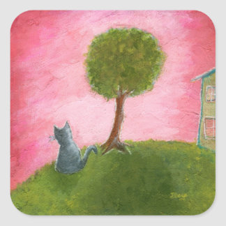 Whimsical Kitty Cat Folk Art Painting Pink Sky Square Sticker