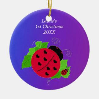 Whimsical Ladybug Baby's 1st Christmas Christmas Ornament