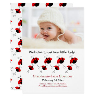 Whimsical Ladybug Photo Birth Announcement