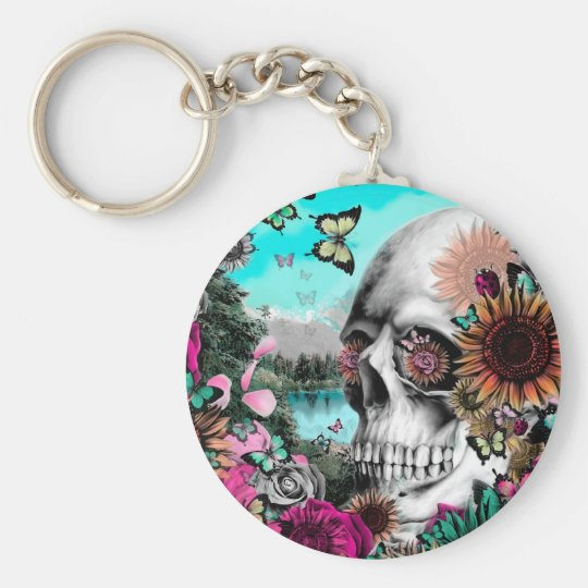Whimsical Landscape skull with florals Basic Round Button Key Ring
