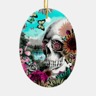 Whimsical Landscape skull with florals Christmas Ornament