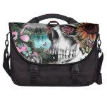 Whimsical Landscape skull with florals Laptop Commuter Bag
