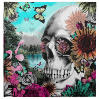 Whimsical Landscape skull with florals Napkin