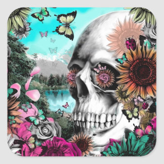 Whimsical Landscape skull with florals Square Sticker