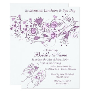 Whimsical Lavender Bridesmaid Lunch & Spa Invite 1