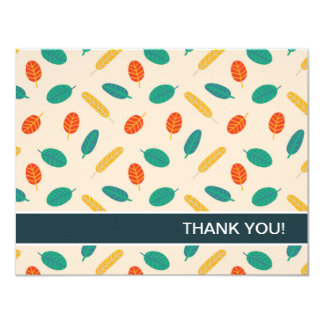 Whimsical Leaf Pattern Flat Thank You Cards
