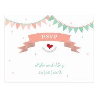 Whimsical Lib Bunting Wedding RSVP
