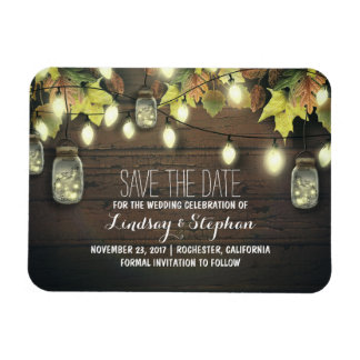 whimsical light fireflies mason jars save the date rectangular photo magnet