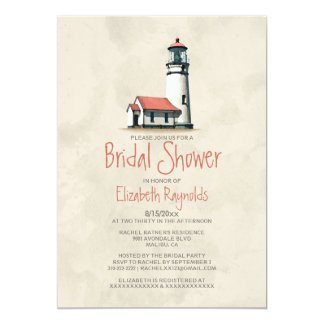Whimsical Lighthouse Bridal Shower Invitations