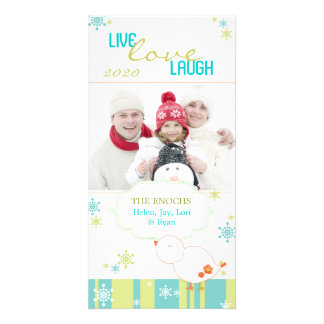 Whimsical Lil Bird Fun White Christmas Photocards Photo Cards