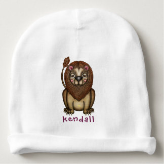 Whimsical Lion Illustration Baby Beanie