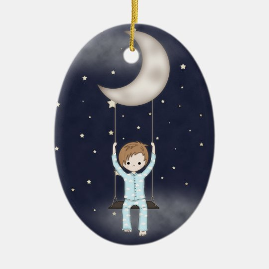 Whimsical Little Boy Swinging from the Moon Christmas