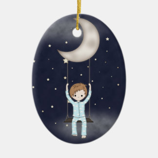 Whimsical Little Boy Swinging from the Moon Christmas Ornament