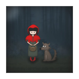Whimsical Little Red Riding Hood Girl and Wolf Canvas Print